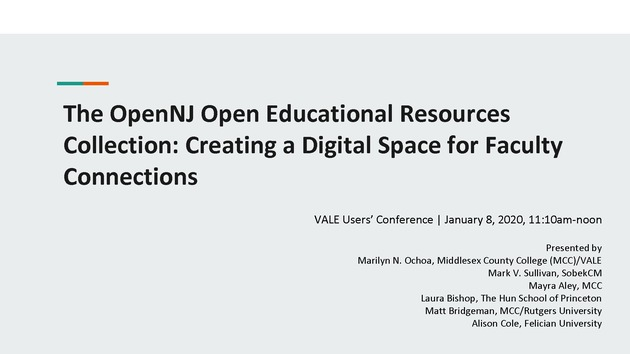 The OpenNJ Open Educational Resources Collection: Creating a Digital Space for Faculty Connections - Page 1